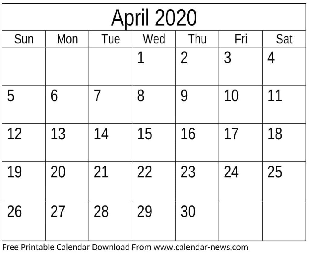 April 2020 Blank Calendar Monthly