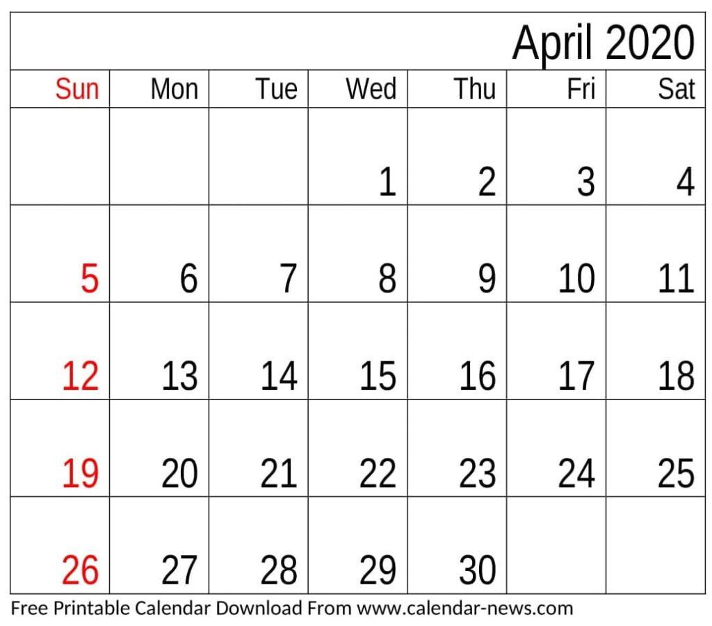 April 2020 Blank Calendar Template