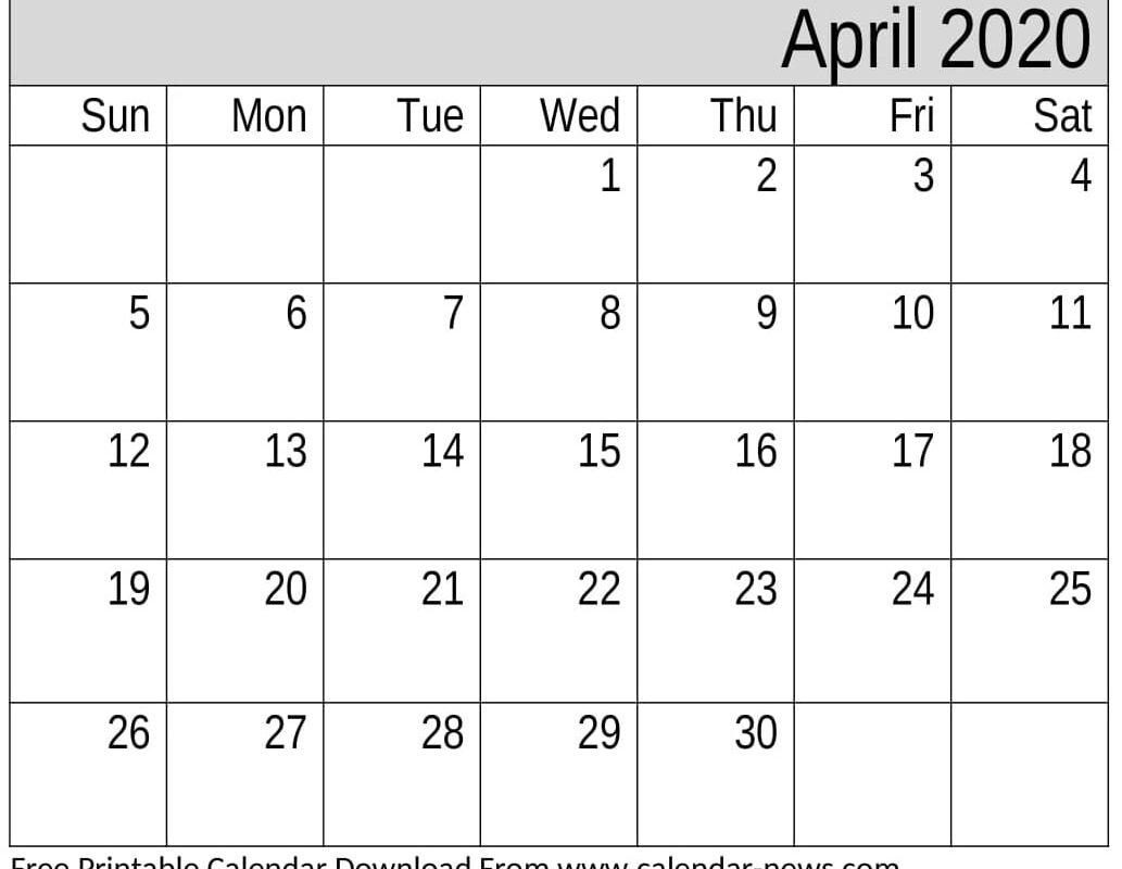 April 2020 Blank Calendar With Holidays