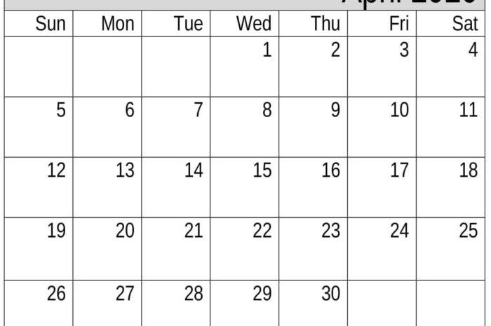 Download April 2020 Blank Calendar For Word, PDF, Excel