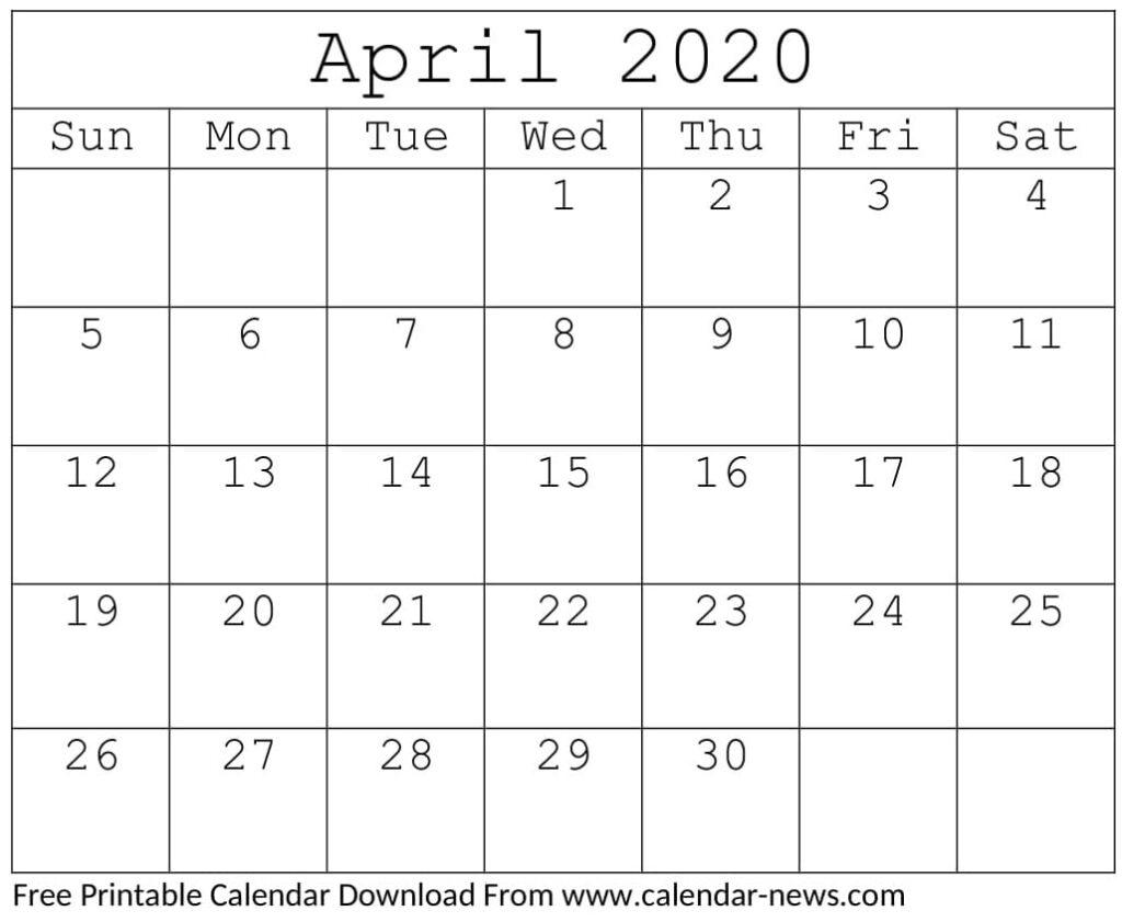 April 2020 Calendar Free Download