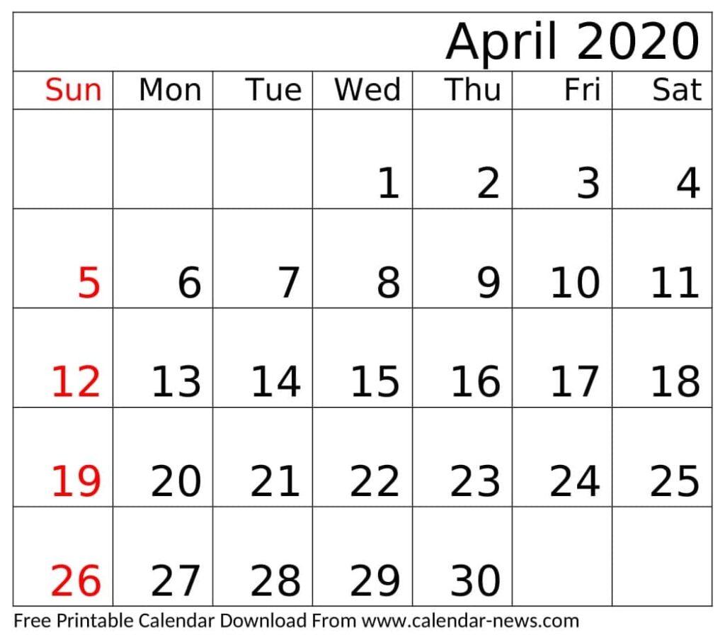 April 2020 Calendar Printable Free