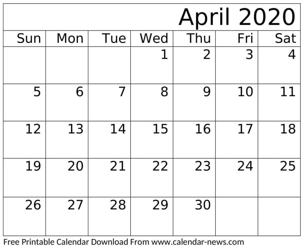 April 2020 Calendar Printable Monthly