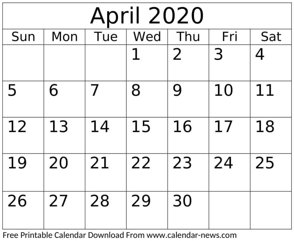 April 2020 Calendar Printable Weekly