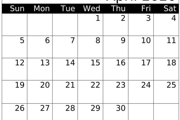 April 2020 Calendar With Holidays Worksheet Template