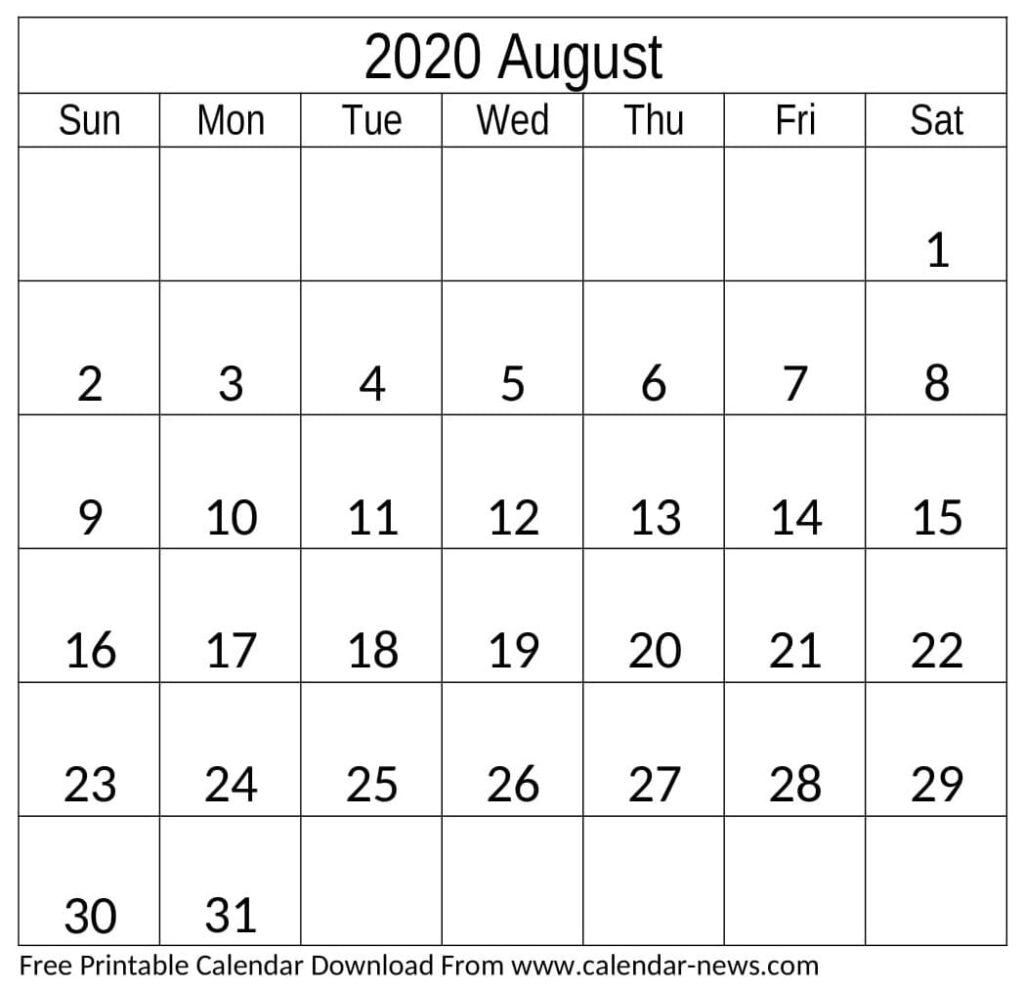 August 2020 Calendar Monthly