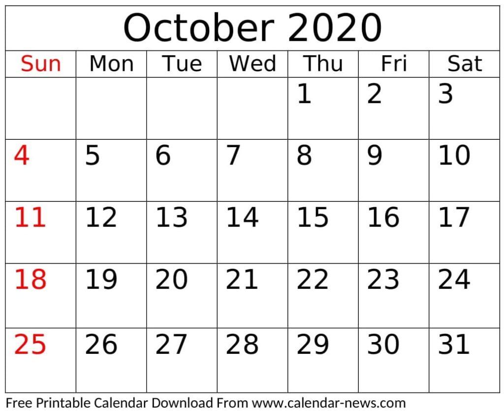 Blank October 2020 Calendar Template