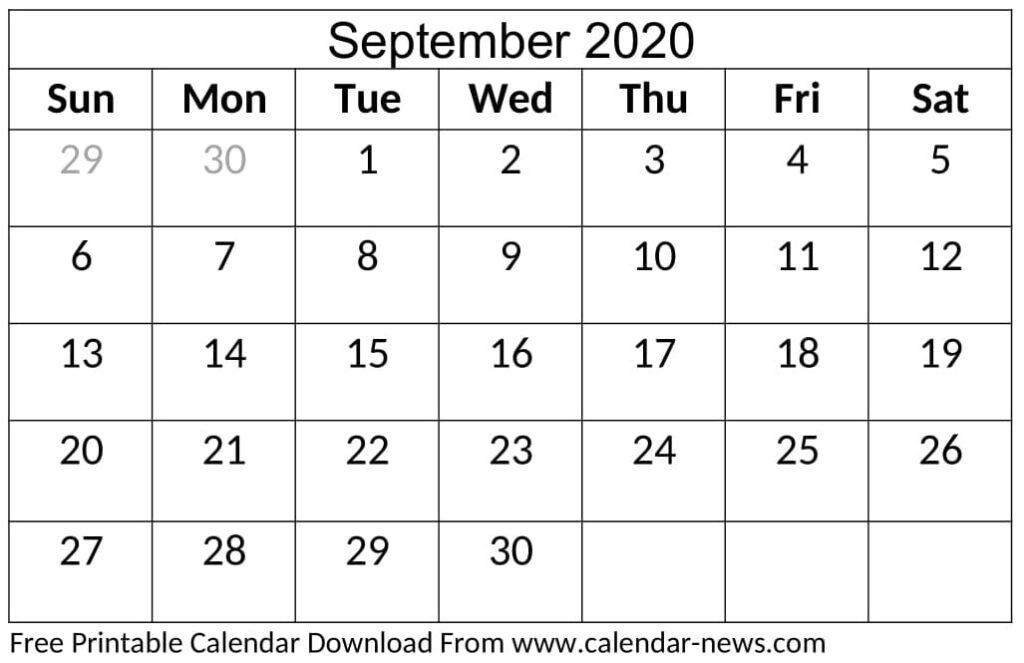Blank September 2020 Calendar Cute