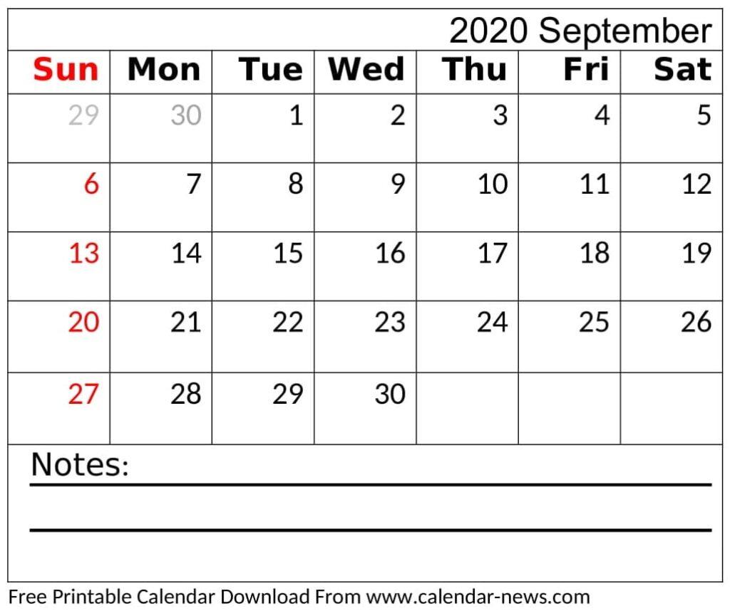 Blank September 2020 Calendar Editable
