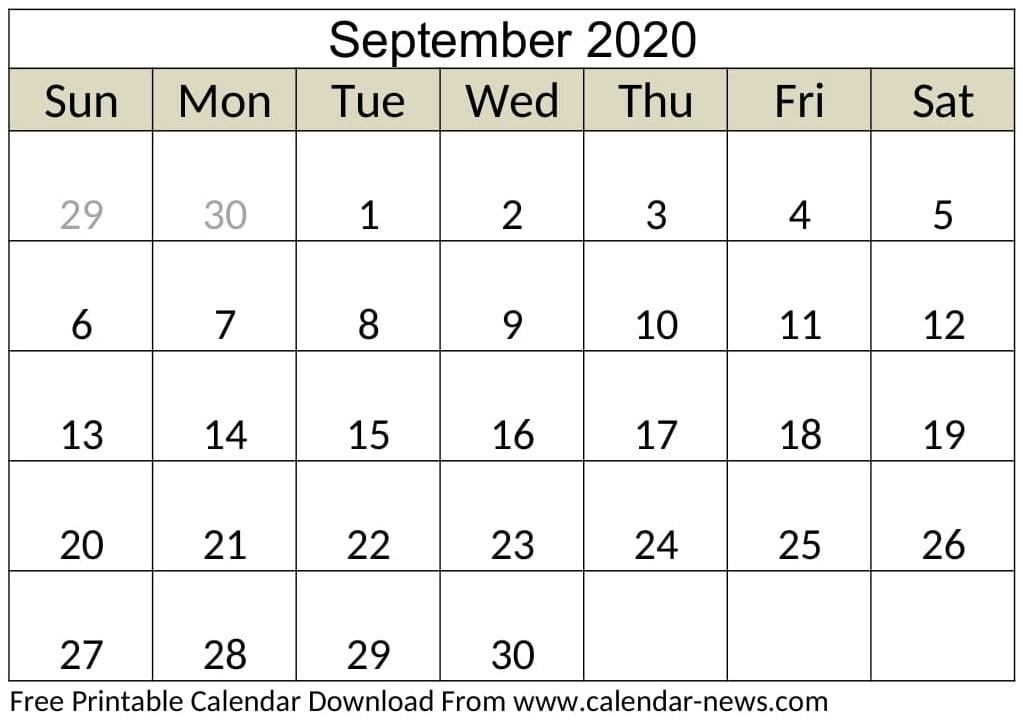 Blank September 2020 Calendar Monthly