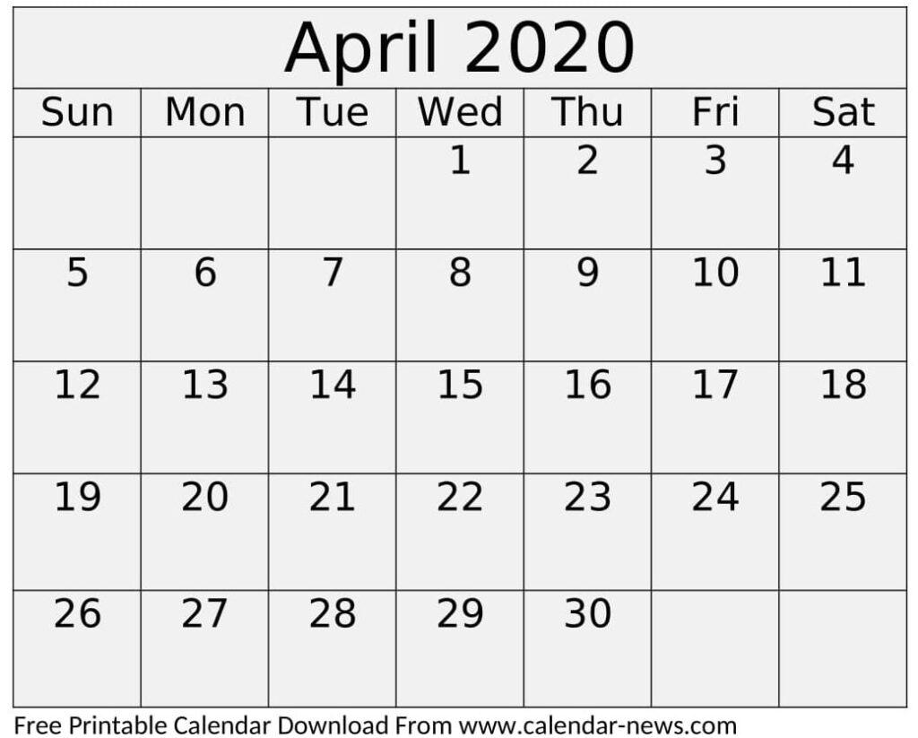 Cute April 2020 Calendar Printable