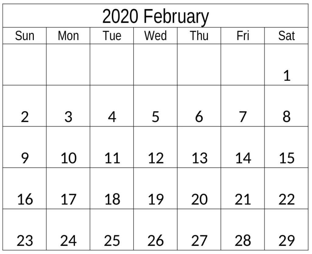 February 2020 Calendar Template Editable