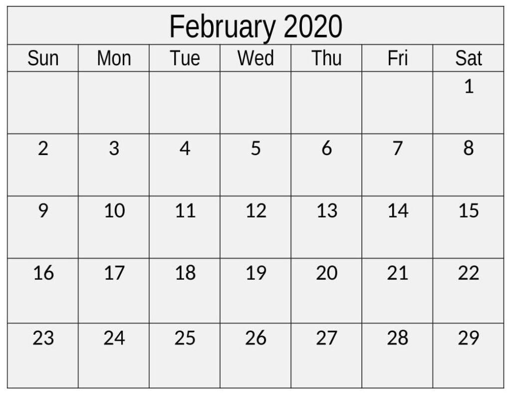 February 2020 Calendar Template Free Download