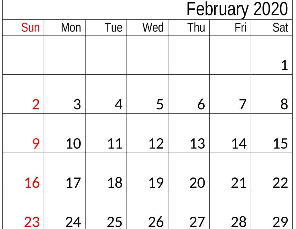 February 2020 Calendar Template Monthly