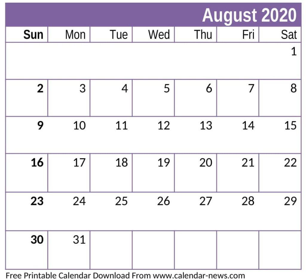 Free Printable August 2020 Calendar Decorative