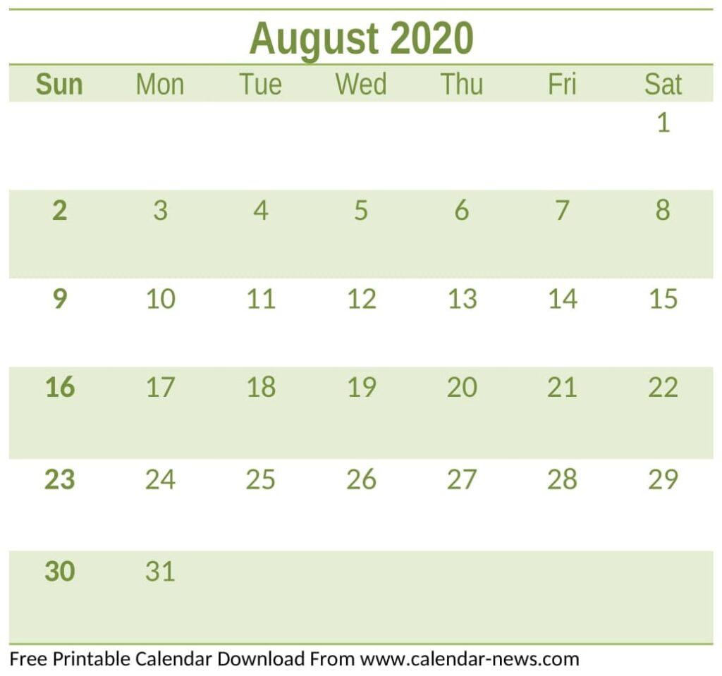 Free Printable August 2020 Calendar Free Download