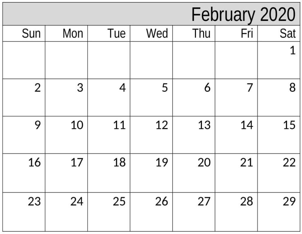 Free Printable February 2020 Calendar Template