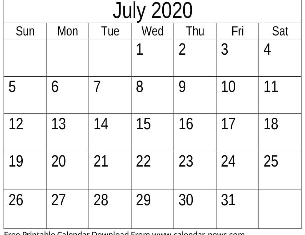 Free Printable July 2020 Calendar Desk
