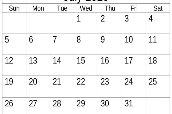 Download Free Printable July 2020 Calendar