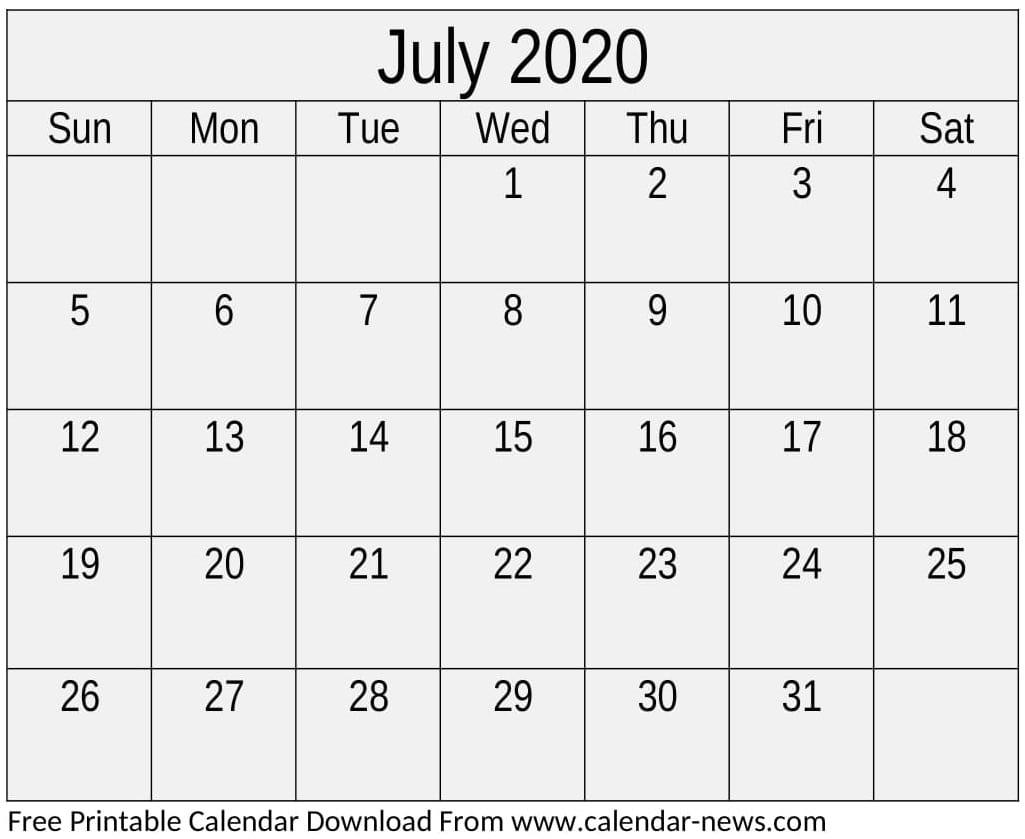 Free Printable July 2020 Calendar Download