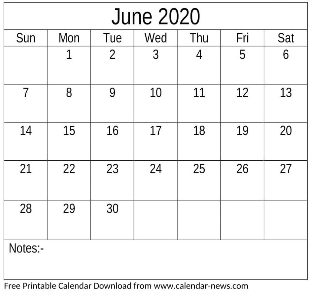 Free Printable June 2020 Calendar Page