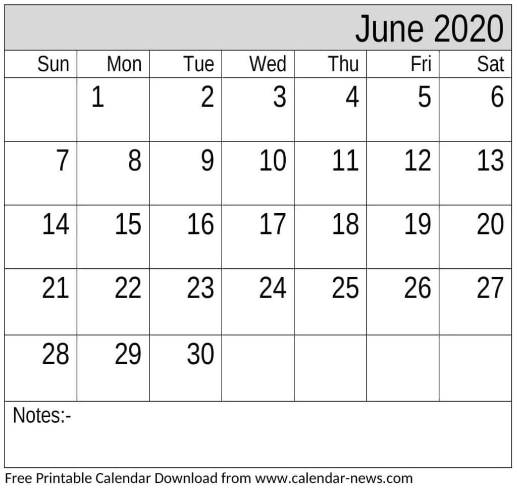 Free Printable June 2020 Calendar Portrait