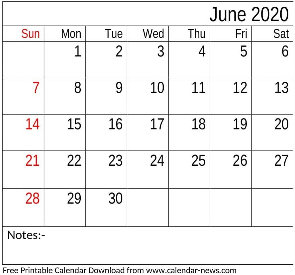 Free Printable June 2020 Calendar Word