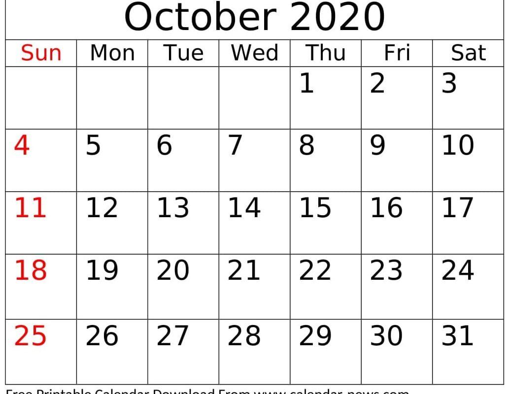 Free Printable October 2020 Calendar Excel