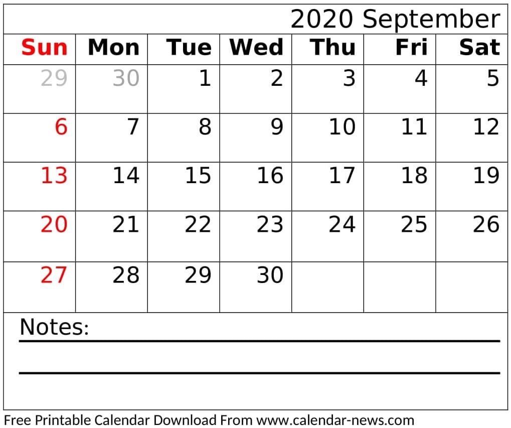 Free Printable September 2020 Calendar Design