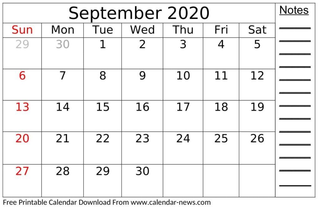 Free Printable September 2020 Calendar Monthly