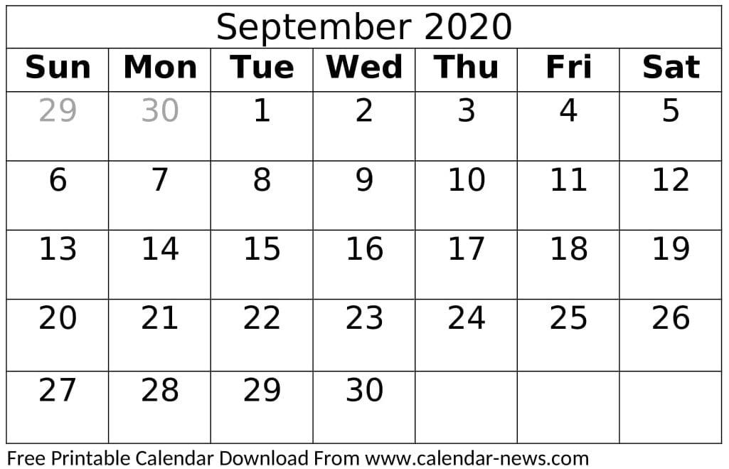 Free Printable September 2020 Calendar Sheet