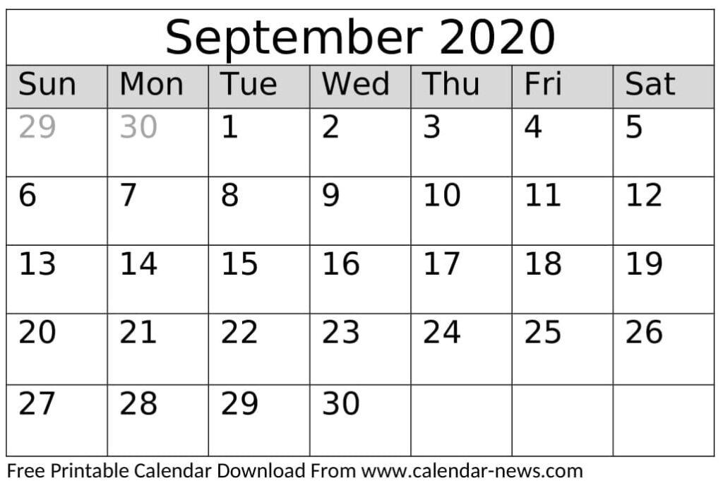 Free Printable September 2020 Calendar Template