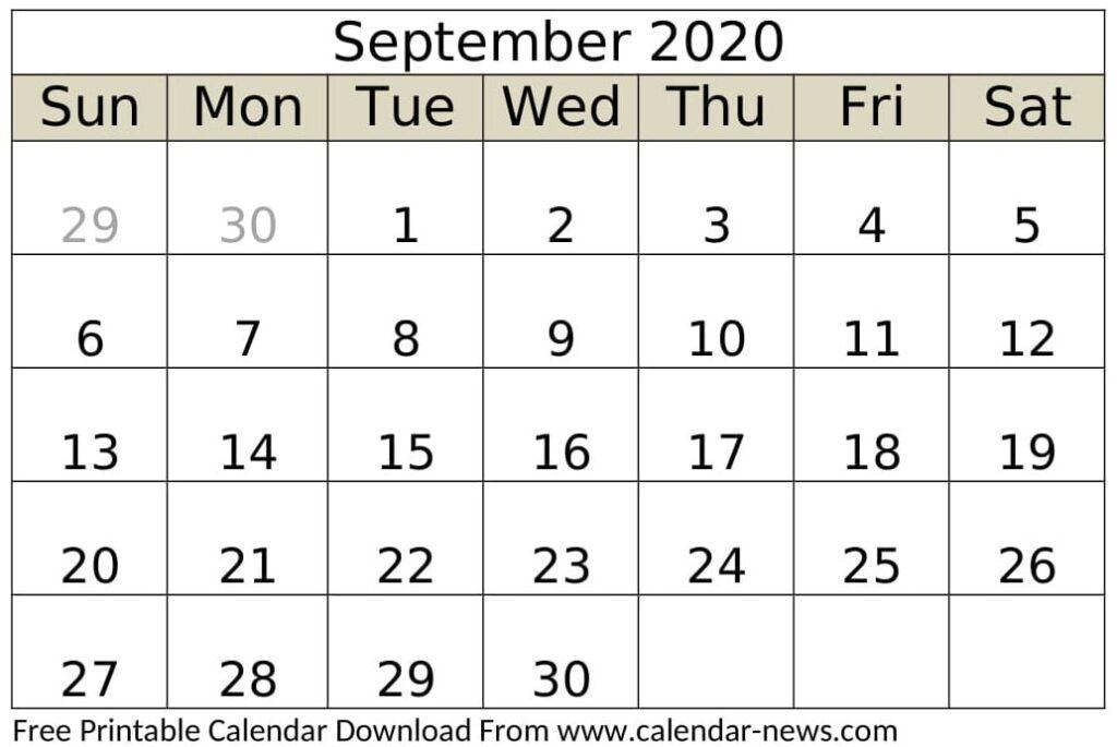 Free Printable September 2020 Calendar Weekly