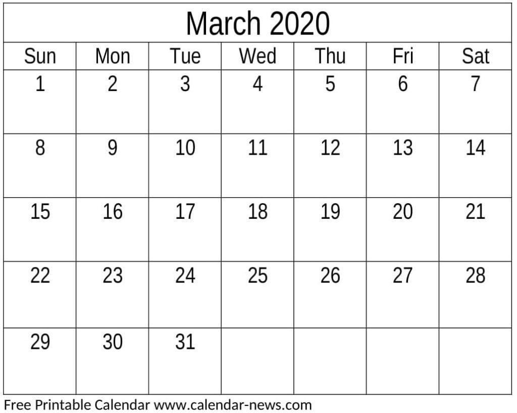 March 2020 Calendar Template Decorative