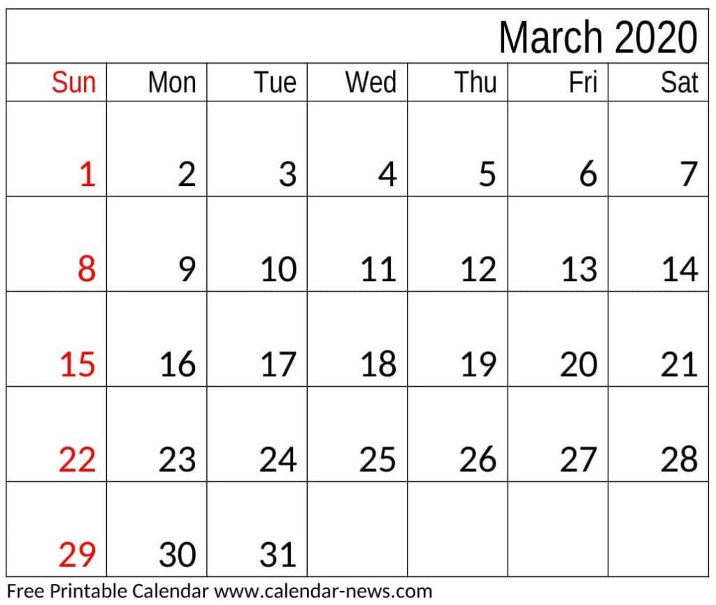 March 2020 Calendar Template Free