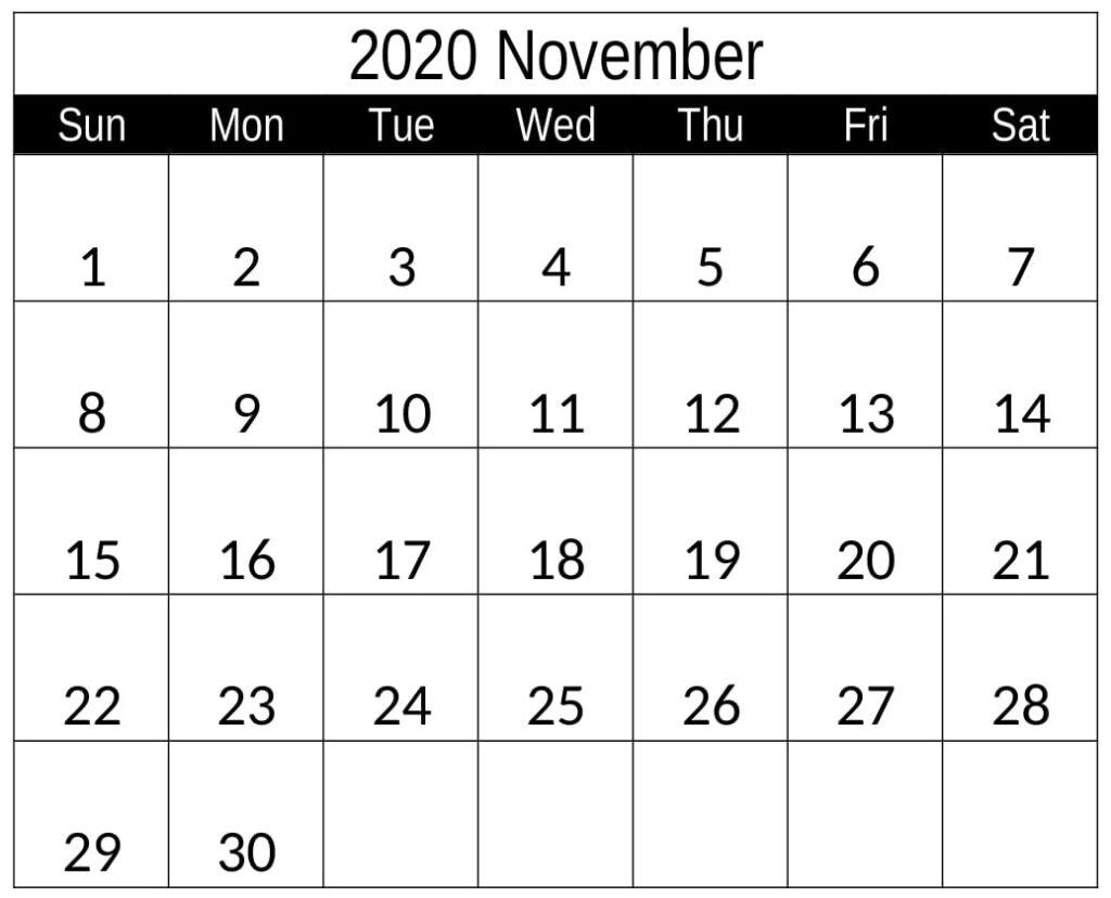 November 2020 Calendar With Holiday Notes