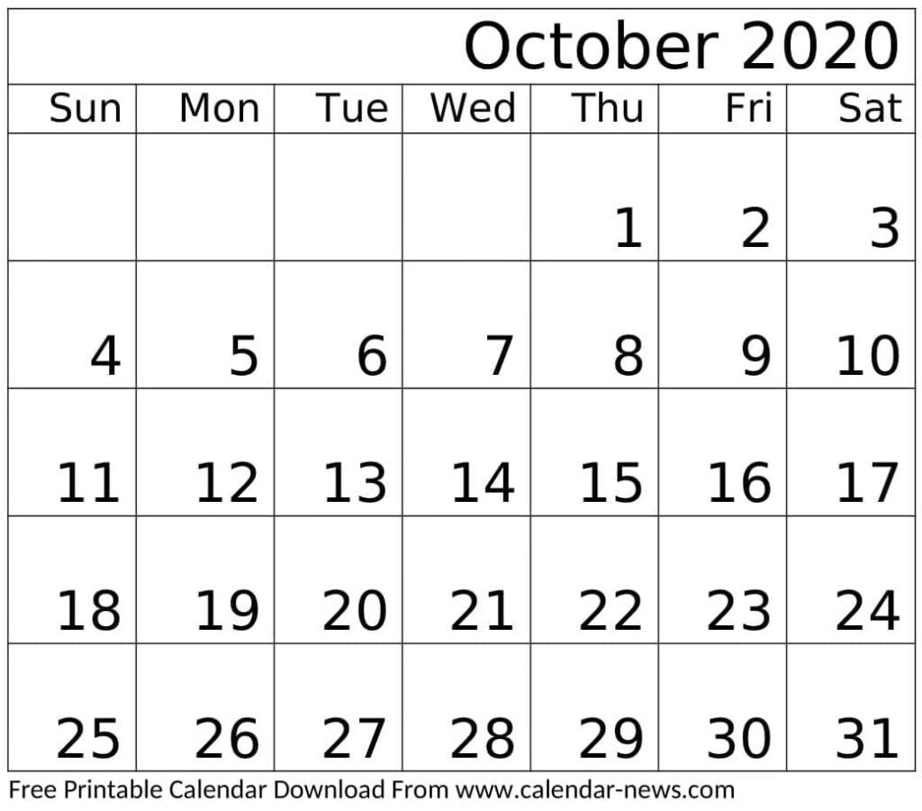 October 2020 Calendar Template Download
