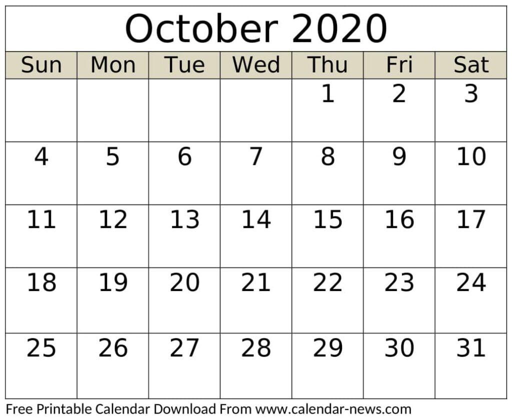 October 2020 Calendar Template Print
