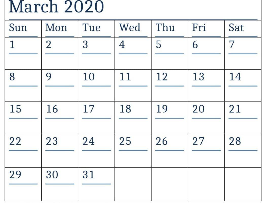 Printable March 2020 Calendar Cute