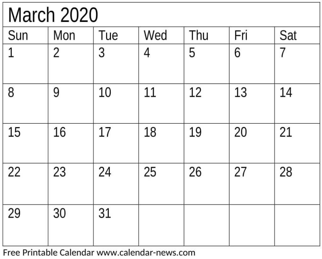 Printable March 2020 Calendar Template