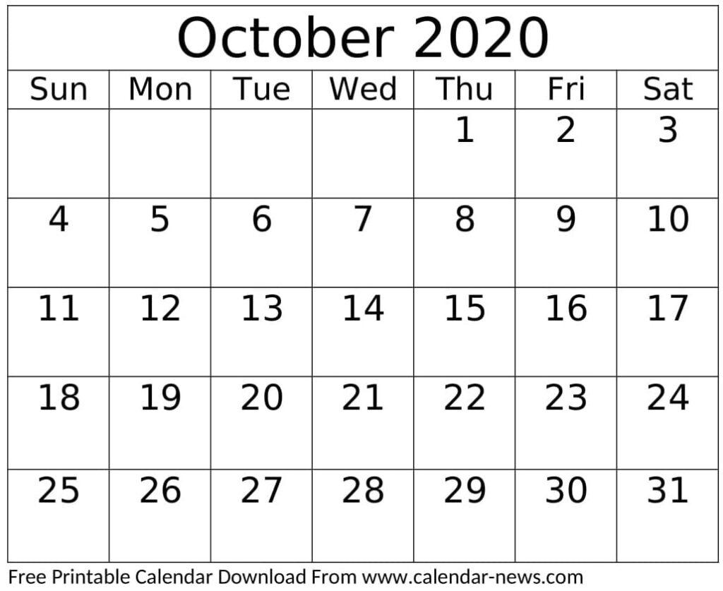 Printable October 2020 Calendar Design