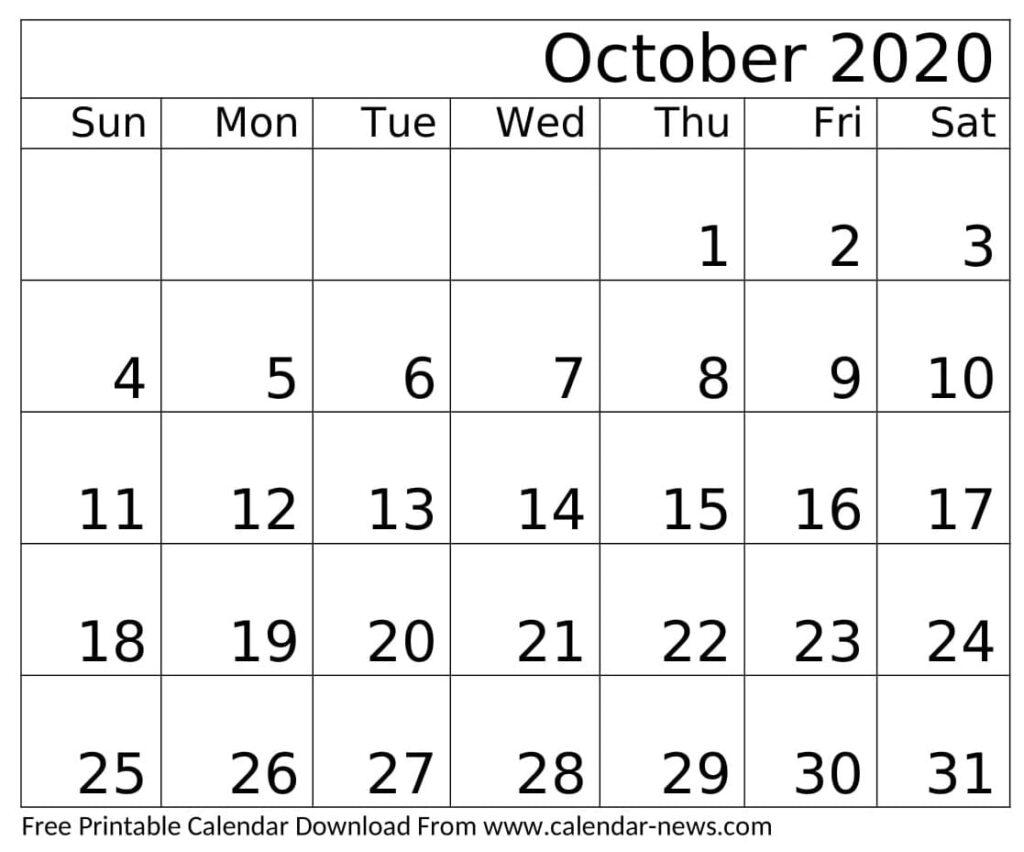Printable October 2020 Calendar Holidays