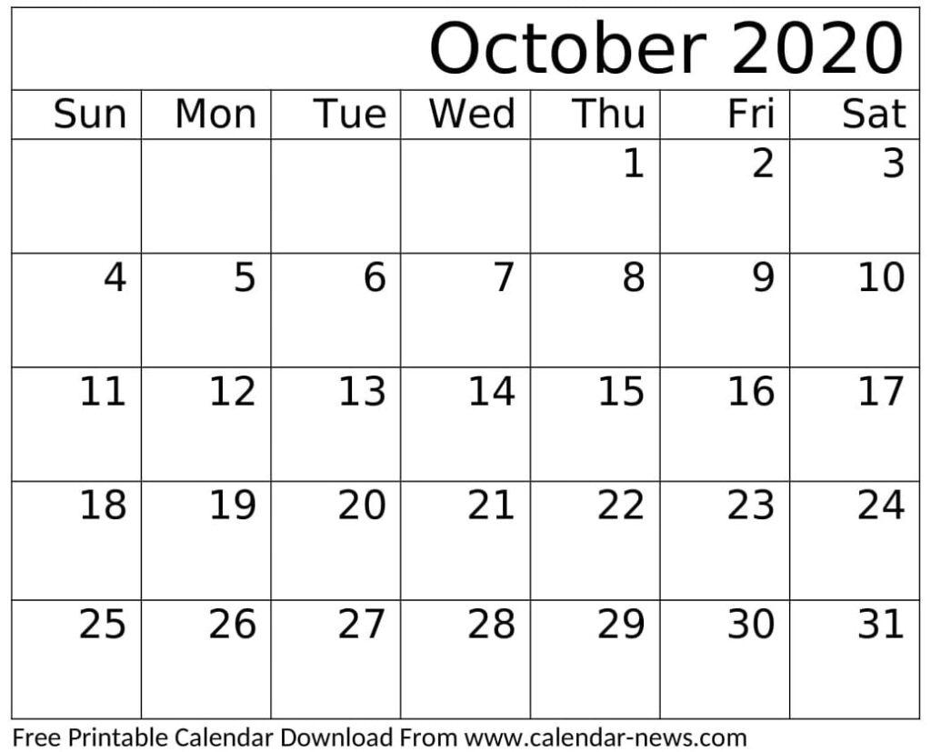 Printable October 2020 Calendar Monthly Planner