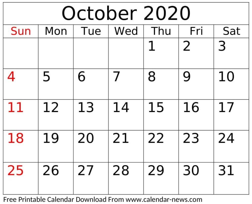 Printable October 2020 Calendar Template