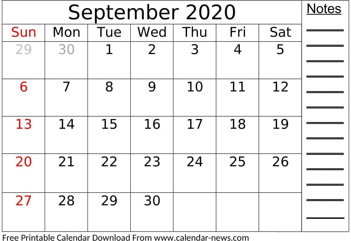 September 2020 Calendar Free Download