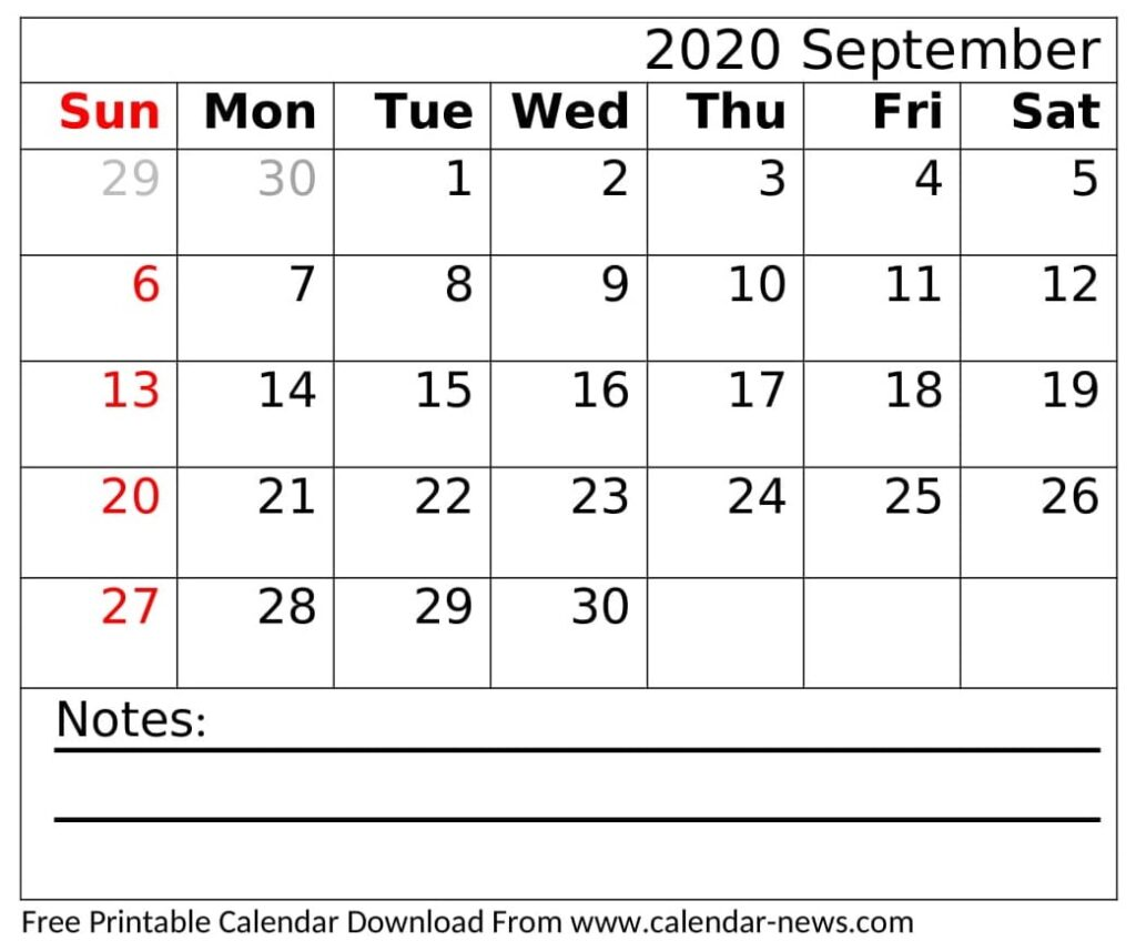 September 2020 Calendar Printable Desk