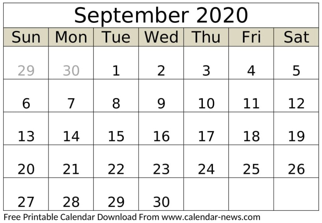 September 2020 Calendar Printable Monthly
