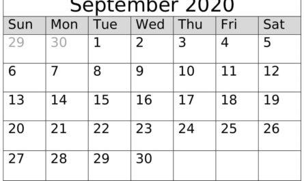 September 2020 Calendar Printable Template