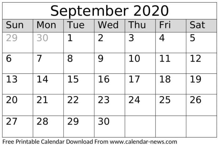 September 2020 Calendar Printable PDF, Word, Excel