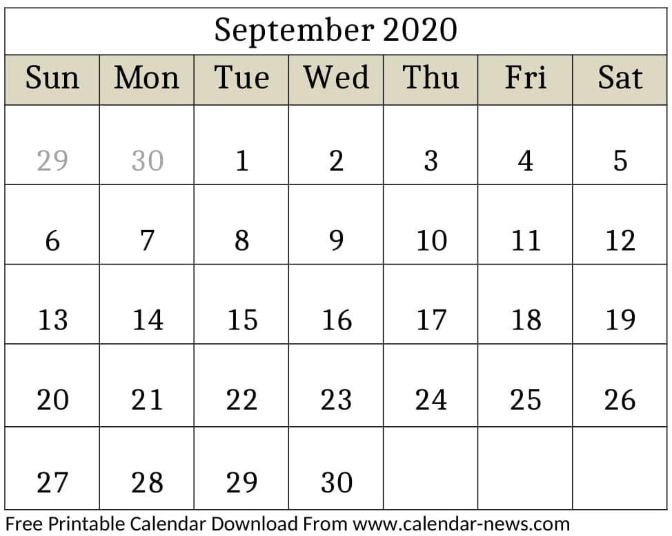 September 2020 Calendar With Holidays India